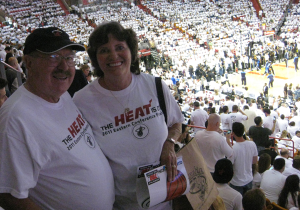 Judy Green, Miami Heat Designated Driver for the Season and her guest, J. Preston Armstrong.