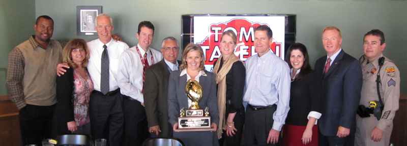 Arizona Cardinals won the Designated Driver Challenge. They were recognized by TEAM Coalition and Bud Light on February 14, 2012 along with representatives from Rojo Hospitality, Hensley Beverage Company, Coca-Cola, MADD and Arizona Governor's Office of Highway Safety.