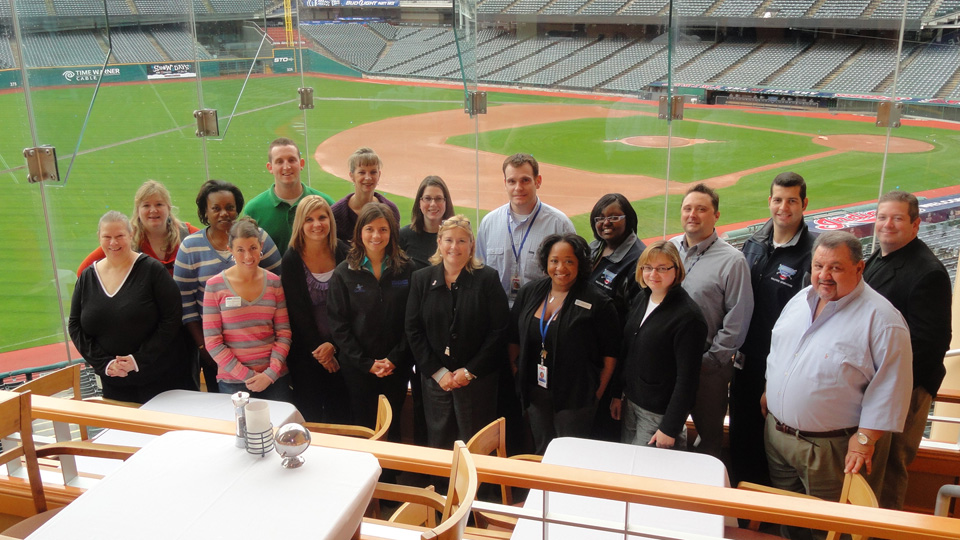 Cleveland IDP attendees enjoy a moment in the Terrace Club at Progressive Field, home of the Cleveland Indians.