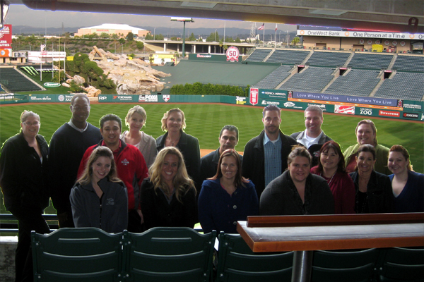 Anaheim IDP attendees show off the view from the suites at Angel Stadium of the beautiful November weather in southern California.
