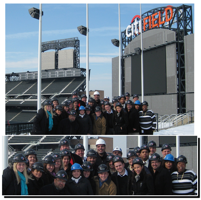 TEAM IDP participants wear their protective gear in order to stand on the concourse of the new Citi Field