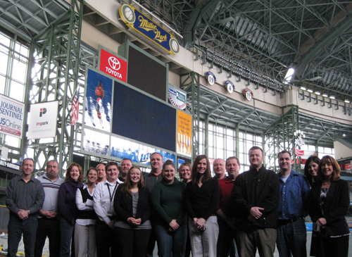 Miller Park IDP attendees took the field, and wished they had brought their coats!
