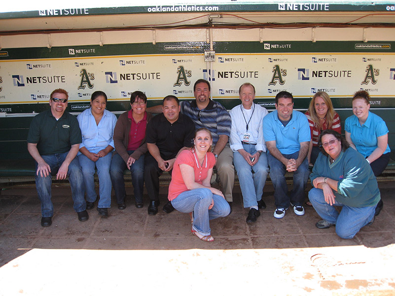 Oakland-Alameda County Coliseum IDP attendees take the A's dugout.