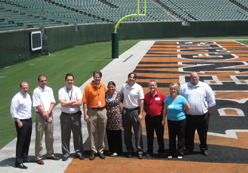 Paul Brown Stadium IDP attendees take the field in Cincinnati.
