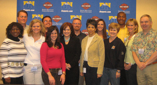 TEAM IDP participants stand ready to respond to the media in the press room at the Pepsi Center