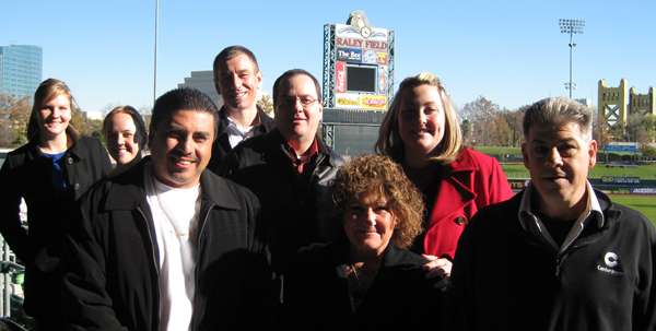 TEAM IDP participants overlook Raley Field and the Golden Bridge into downtown Sacramento