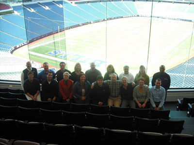 TEAM IDP participants looking over a sunny Ralph Wilson Stadium