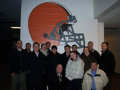 TEAM IDP participants pose in the home locker room at Cleveland Browns Stadium