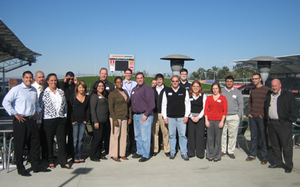 TEAM IDP participants admire the pitch at Home Depot Center