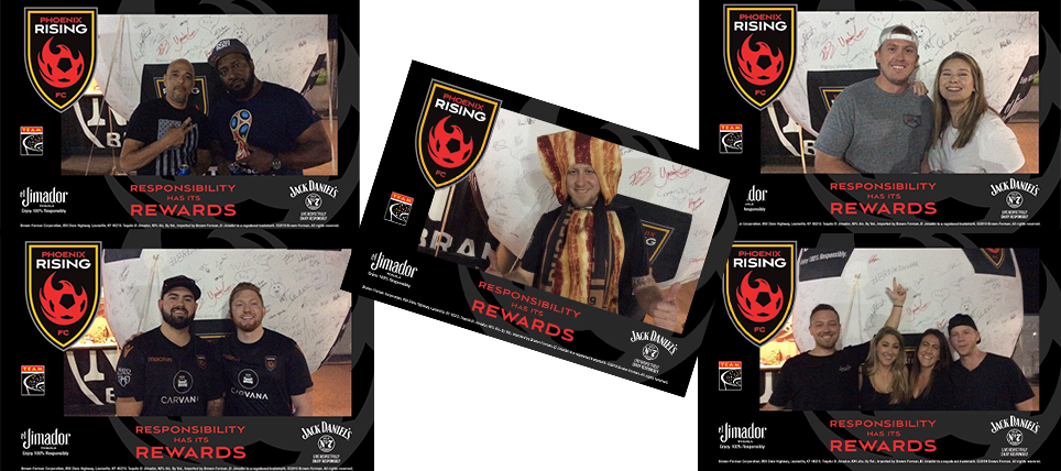 Phoenix Rising FC Fans Live Respectfully And Enjoy 100% Responsibly with el Jimador and Jack Daniel's
